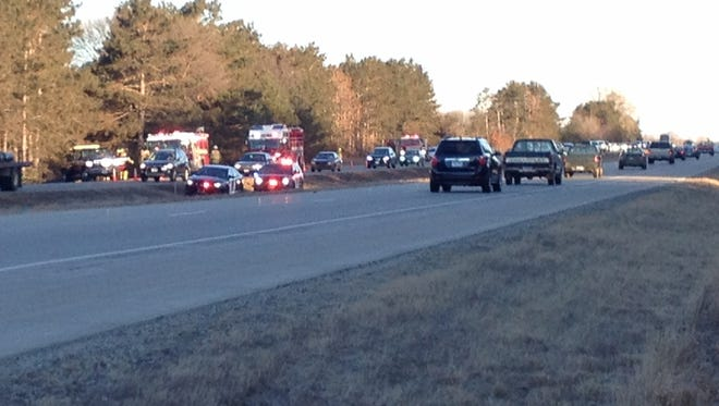 A two-vehicle collision blocked traffic on U.S. Highway 10 Friday morning.