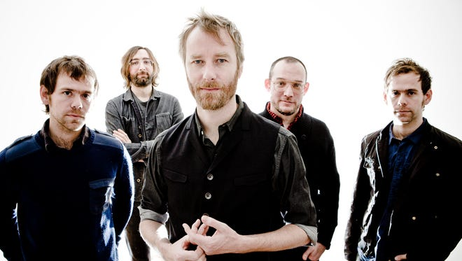 The Cincinnati-bred, Brooklyn-based indie rock band The National – (from left) Aaron Dessner, Bryan Devendorf, Matt Berninger, Scott Devendorf, Bryce Dessner – will play with the Cincinnati Symphony Orchestra in Music Hall.