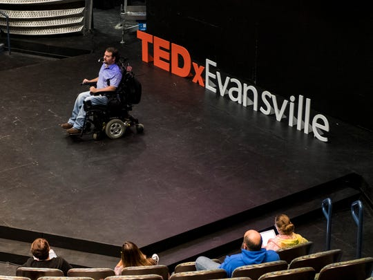 "Ben Trockman gives his talk during a dress rehearsal for the third annual TEDxEvansville program at the University of Southern Indiana's Performance Center in Evansville, Ind., Thursday, Oct. 26, 2017. His talk titled ""Workforce Ability"" will focus on navigating the professional world with a disability and raising awareness to improve disabled employment opportunities."