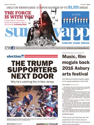 Asbury Park Press front page, Sunday, December 13, 2015