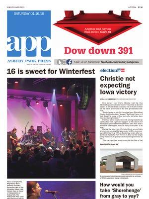 Asbury Park Press front page, Saturday, January 16, 2016