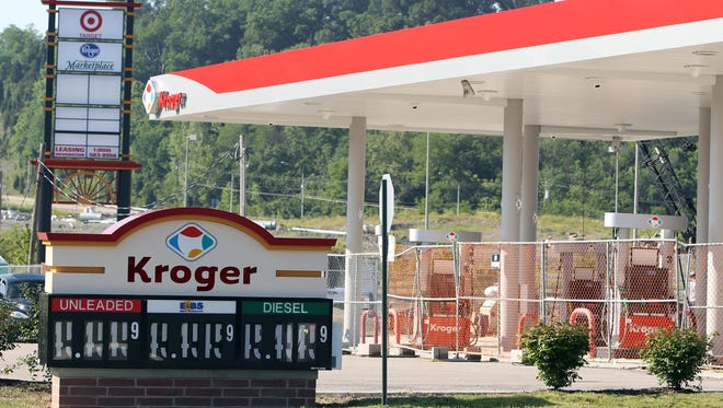 The Kroger gas station at the Newport Pavilion under repair in a 2011 file photo.