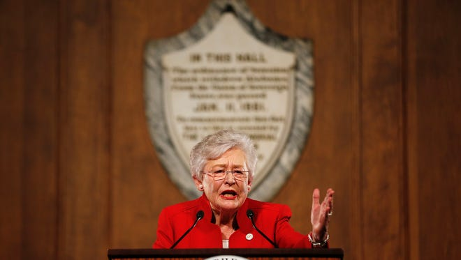 """FILE - In this NYAG211, file photo, Alabama Gov. Kay Ivey gives the annual State of the State address at the Capitol, in Montgomery, Ala. Speaking to supporters Ivey argued that Alabama is """"stronger"""" than it was a year ago. Ivey is seeking to win the office after becoming governor last year when her predecessor resigned in a scandal. (AP Photo/Brynn Anderson, File)"""