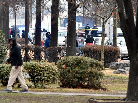 The scene at the reporting shooting Wednesday, February
