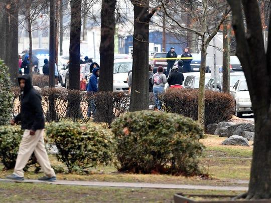 The scene at the reporting shooting Wednesday, February 7, 2018, at Tony Sudekum Apartments on Charles E. Davis Boulevard.