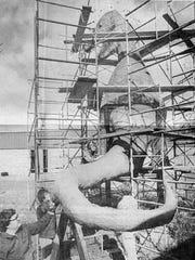 The Sutton Elementary School dinosaur under construction, in 1981.