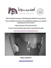 La Quinta High School distributed this handout, containing a security camera image of the pranksters, after several door locks in the school were glued shut, causing an estimated $10,000 in damage.