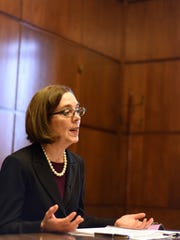 "Gov. Kate Brown shares her thoughts regarding Indiana's ""religious freedom"" law during an exclusive interview with the Statesman Journal on Wednesday, April 1, 2015, at the Oregon State Capitol."