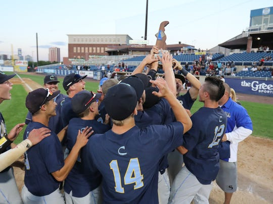 Cape Henlopen defeats Caravel 5-3 to win the DIAA state baseball tournament at Frawley Stadium, June 2018.