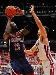 Deandre Ayton of the Arizona Wildcats shoots against