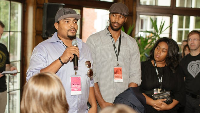 "The 2016 Milwaukee Film Festival's Black Lens Jury (from left) Robert Patla, acquisitions executive at XLrator Media; Keith McQuirter, director, ""Milwaukee 53206""; and Tyshun Wardlaw, CEO of Wardlaw Productions."