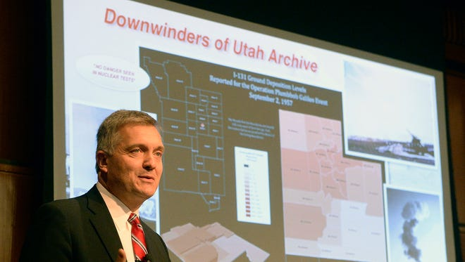 "In this Monday, Oct. 3, 2016 photo, former Utah Congressman Jim Matheson, an advocate for compensation for the downwind population in Utah affected by cancer speaks at the launch event for ""Downwinders of Utah Archive"" at the J. Willard Marriott Libray at the University of Utah, in Salt Lake City. The new University of Utah archive about the state's ""downwinders"" features oral histories, photographs and newspapers clippings documenting the impact of nuclear testing during the 1950s in Nevada."