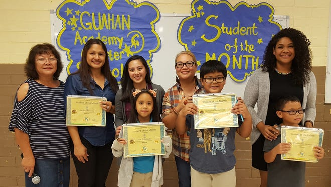 The Guahan Academy Charter School honored its March Student of the Month awardees on April 12, 2018. Pictured in front, from left: Irie Balajadia; Kenapu Sablan-Cruz and Christopher Acosta. Pictured from left (back row): Teresita Cruz, Dean of High School Guahan Academy Charter School: Michelle Calvo; Camarin Sablan; Adelin Unpingco and Natasha Aldridge.
