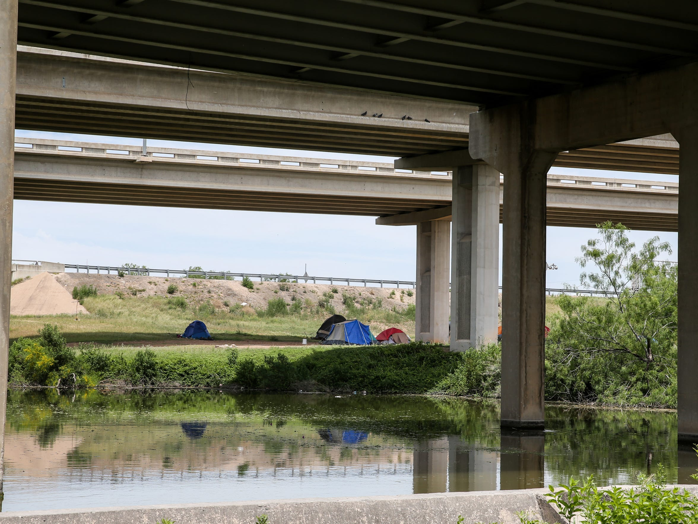 A tent city under the Houston Harte Expressway in San