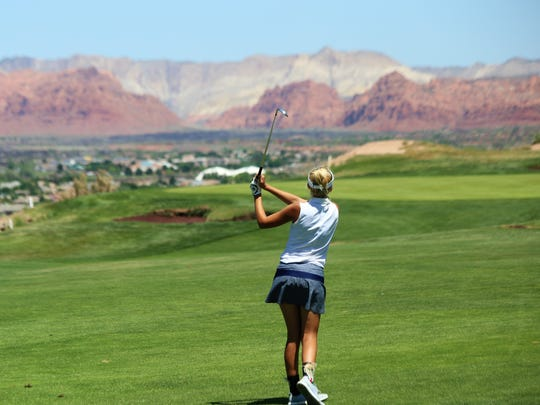 Snow Canyon's Lexi Hamel watches her shot during the