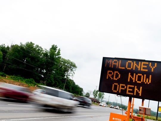 A traffic sign along Alcoa Highway as construction