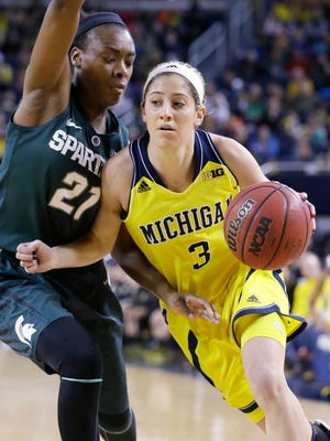 Michigan guard Katelynn Flaherty (3) drives on Michigan State guard Jasmine Lumpkin (21) during the first half of an NCAA college basketball game in Ann Arbor on Jan. 4.