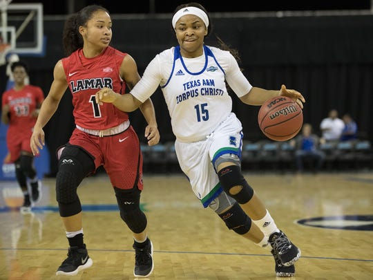 Texas A&M-Corpus Christi's Brittany Mbamalu drives