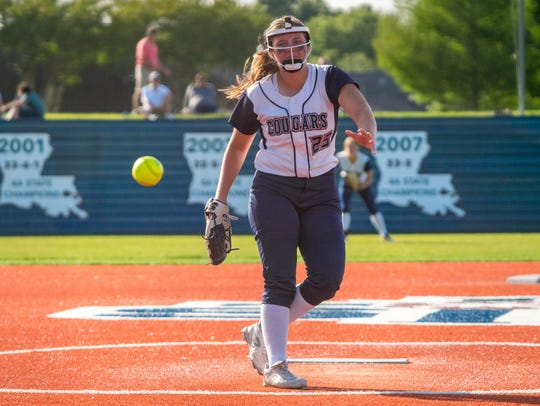 St. Thomas More senior Paityn Desormeaux is shown on the mound last season during a game against Teurlings.