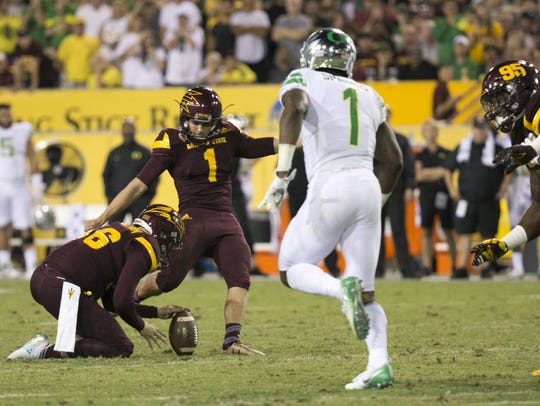 ASU freshman kicker Brandon Ruiz kicks the game-winning