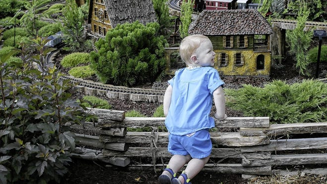 Ollie Buechler, 2, of Obetz watches for a train to go by in the Paul Busse Garden Railway exhibit July 1 at Franklin Park Conservatory and Botanical Gardens, 1777 E. Broad St. in Columbus.
