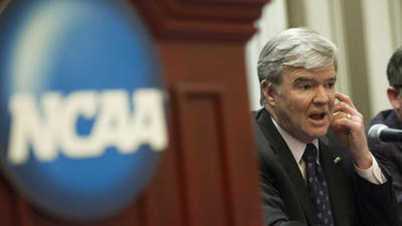 NCAA president Mark Emmert speaks at press conference Friday at the NCAA Convention