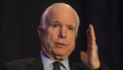 Senator John McCain (R-AZ) speaks, April 7, 2015, at the Arizona Chamber of Commerce luncheon at the Arizona Biltmore Hotel, 2400 E. Missouri Avenue, Phoenix.