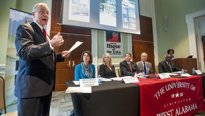 University of West Alabama President Ken Tucker moderates during a Forum on the Future of the Black Belt held at the state archives building in Montgomery, Ala. on Thursday November 12, 2015.