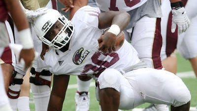 Sophomore running Ben Luckett was one of two backs to rush for two touchdowns in ULM's scrimmage on Saturday night.