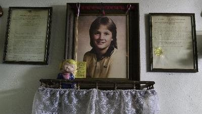 A memorial to Cheri Lindsey in her parents' Binghamton home.