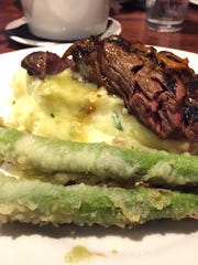 Hibachi steak, wasabi mashed potatoes and asparagus