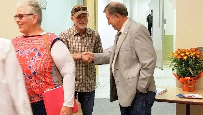 Rep. John Zimmerman greets members of the public during the last forum held on the campus of Western New Mexico University.