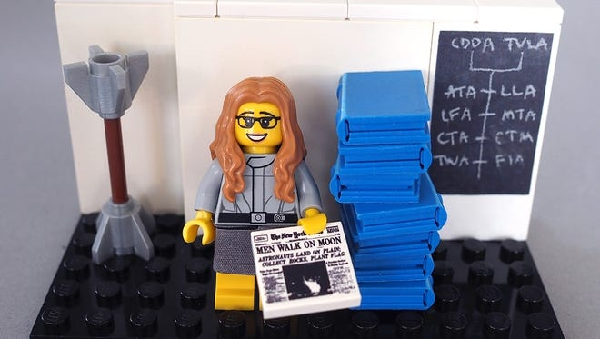 This is the prototype of Margaret Hamilton as a figurine in a Women of NASA set that is being manufactured by LEGO.