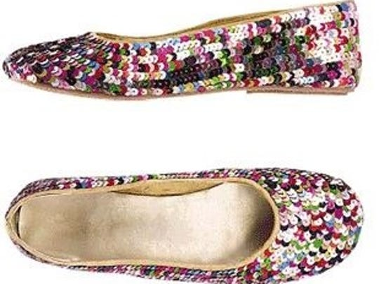 Sequined slip on shoes.