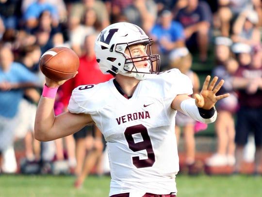 Verona quarterback Tom Sharkey threw two touchdown