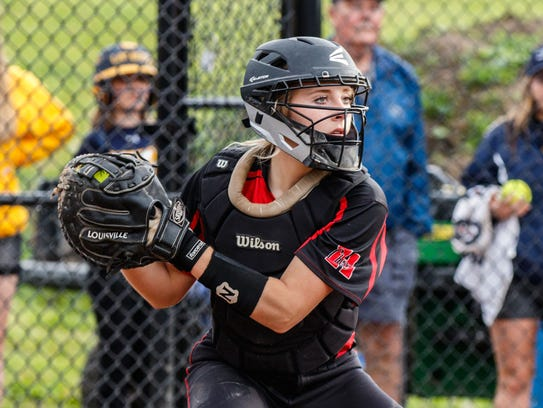 Sussex Hamilton catcher Morgan Dercola stares down