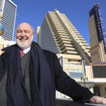 In this Feb. 6 file photo, Stockton University president Herman Saatkamp poses in front of the Showboat Casino.