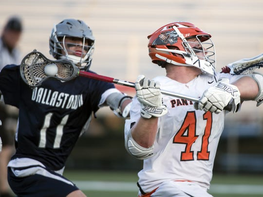 Central York's Kollin Vaught (41) sets up to shoot during the YAIAA semifinals on Wednesday, May 9, 2018. The Central York Panthers topped the Dallastown Wildcats, 20-8, to advance to the finals.