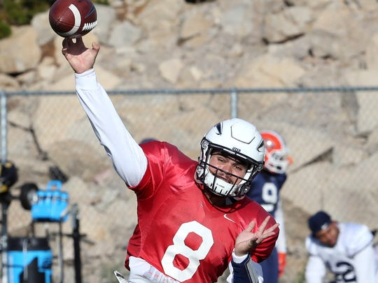 UTEP quarterback Zack Greenlee at a Nov. 1 practice at Glory Field.