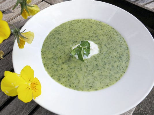 Watercress soup gets its velvety texture from potato puree. Below, a broad patch of watercress is waiting to be picked.
