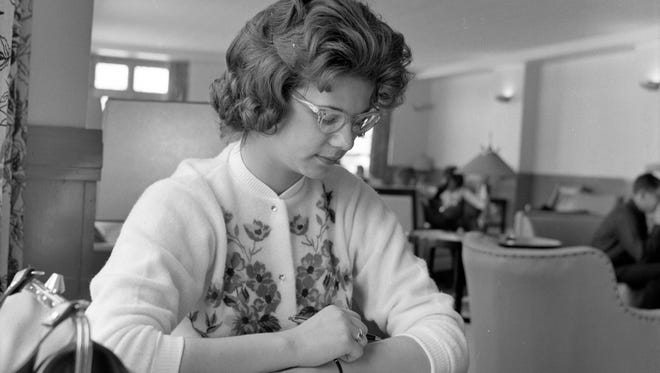 A Ball State student studies in Pittenger Student Center in January 1964.