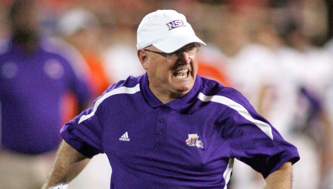Northwestern State Demon head coach Bradley Dale Peveto reacts to a call in the second half against the Texas Tech Red Raiders at Jones AT&T Stadium.  Texas Tech defeated Northwestern State 44-6.