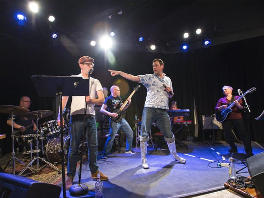 "Rehearsal for ""Hedwig and the Angry Inch"" at ArtsRiot  in Burlington on Monday, March 21, 2016. Left to right are Ornan, McClean, Shawn Lipenski, Chris Cheney, Robert Toms, Adam Wood and Antara."