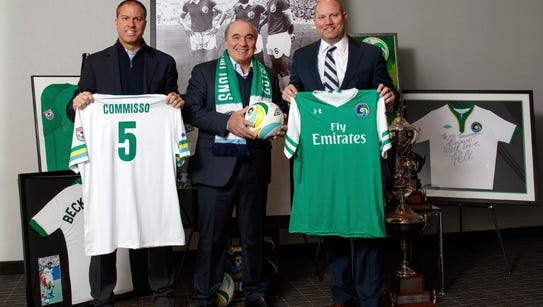 Cosmos coach Giovanne Savarese, new owner Rocco Commisso,