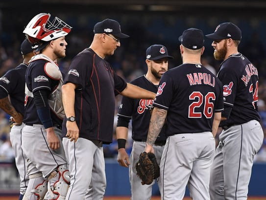 From 2016: Terry Francona (center) managed the Cleveland