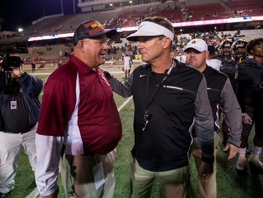 Autauga Academy coach Bobby Carr, right, and Escambia