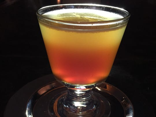 """The Sinker"" cocktail by Roast's bar manager Rick Paulger features a mixture of bitters and amaro poured into the drink after its mixed, making each sip taste different."