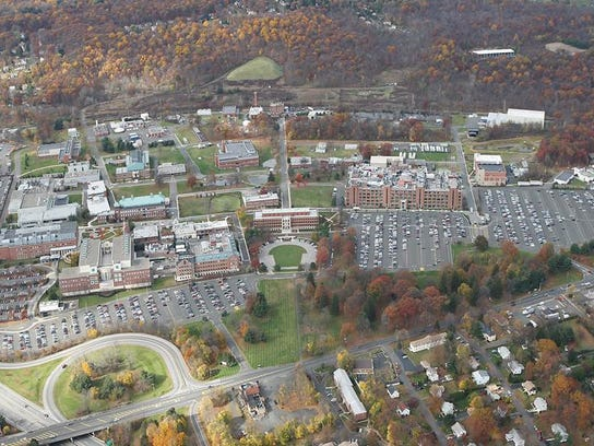 An aerial photo of the Pfizer campus in Pearl River.