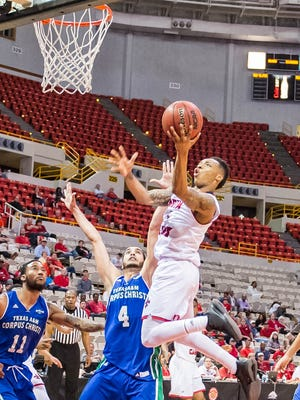 UL guard Jay Wright (1) goes up for a layup during the Cajuns' CIT win over Texas A&M- Corpus Christi on Wednesday in the Cajundome.