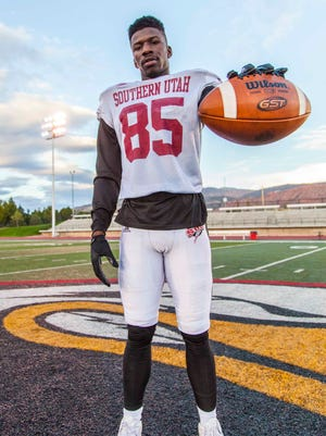 Southern Utah running back Raysean Pringle poses for a photo after practice on Wednesday, Sept. 28, 2016.